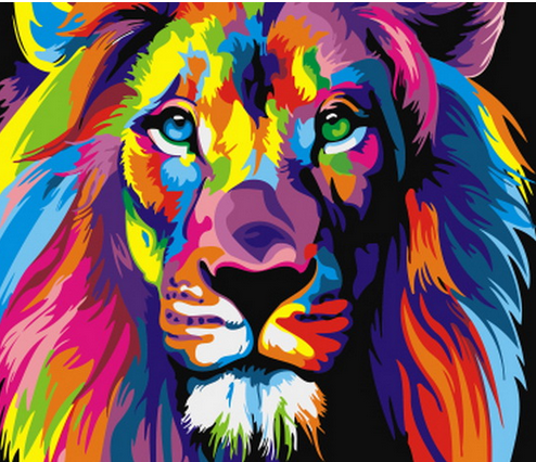 Painted Lions Pictures Oil Painting Frameless By Numbers