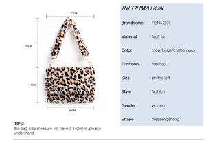 Image 2 - Fur Bag animal print leopard bag women ladies winter warm crossbody bags famous Brand Large Capacity shoudler 2018 new