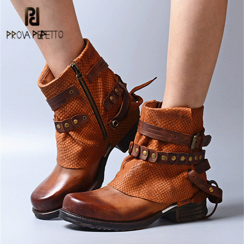 Prova Perfetto British Genuine Leather Ankle Boots for Women Straps Platform Rubber Short Botas Mujer Female Flat Martin Boot jady rose casual gray women ankle boots straps genuine leather short flat botas autumn winter female platform martin boot