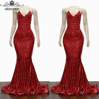 Sparkle Sequined Red Mermaid Bridesmaid Dresses For Women 2019 Spaghetti Strap Backless Long Prom Dress Party Wedding Guest