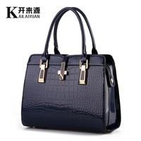 SNBS 100% Genuine leather Women handbag 2018 New bright patent leather crocodile pattern fashion shoulder shoulder ladies bags