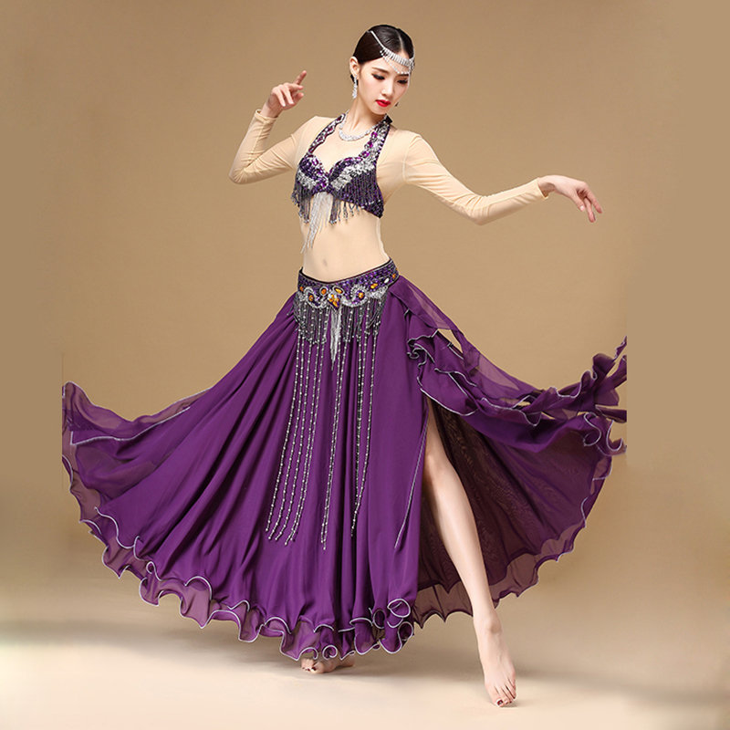 Belly Dance Kostým Oblečení Set Podprsenka Sukně Sukně Hollywoodský Karneval 3ks Scénický výkon Břišní tanec Oblečení Orienta