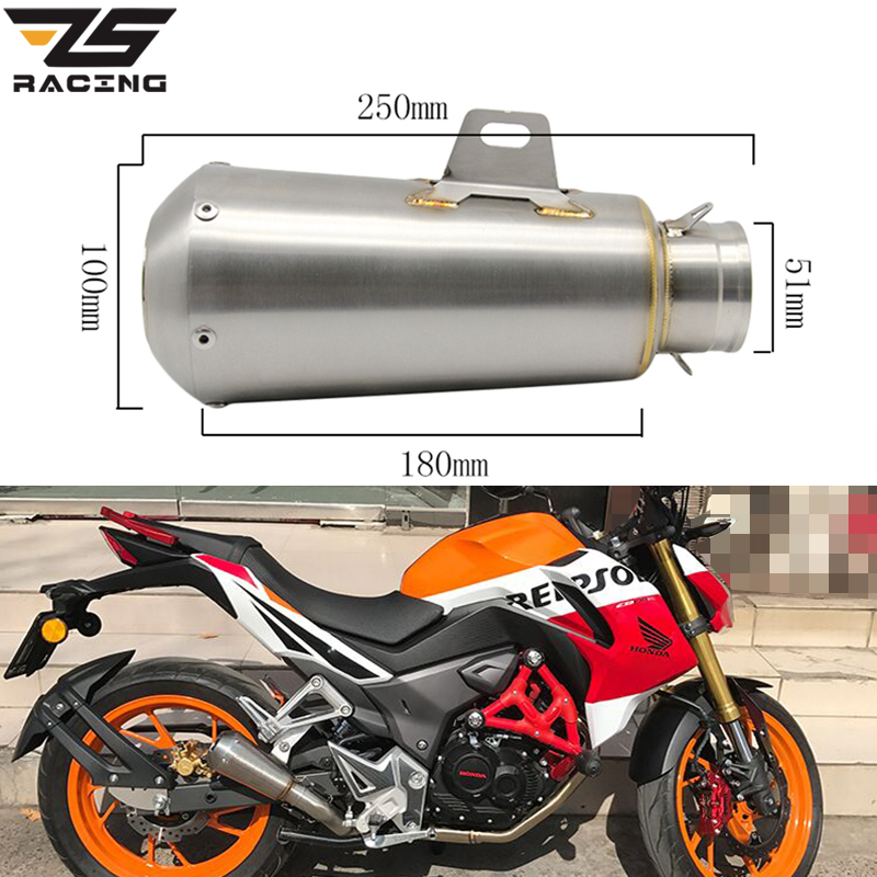 ZS Racing Motorcycle Akrapovic Exhaust Muffler Modified Escape For Z1000 CBR1000 ZX6R CBR300 NINJA Motorbike Exhaust PowerZS Racing Motorcycle Akrapovic Exhaust Muffler Modified Escape For Z1000 CBR1000 ZX6R CBR300 NINJA Motorbike Exhaust Power