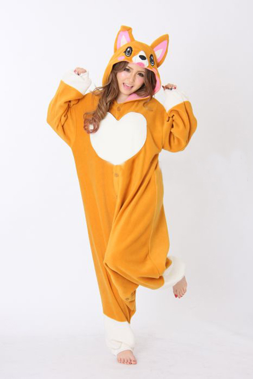 15a665c2a3 Polar fleece Adult Corgi dog Onesies Sleepwear for women Cartoon Animal  Cosplay Pajamas Pyjamas Halloween Party