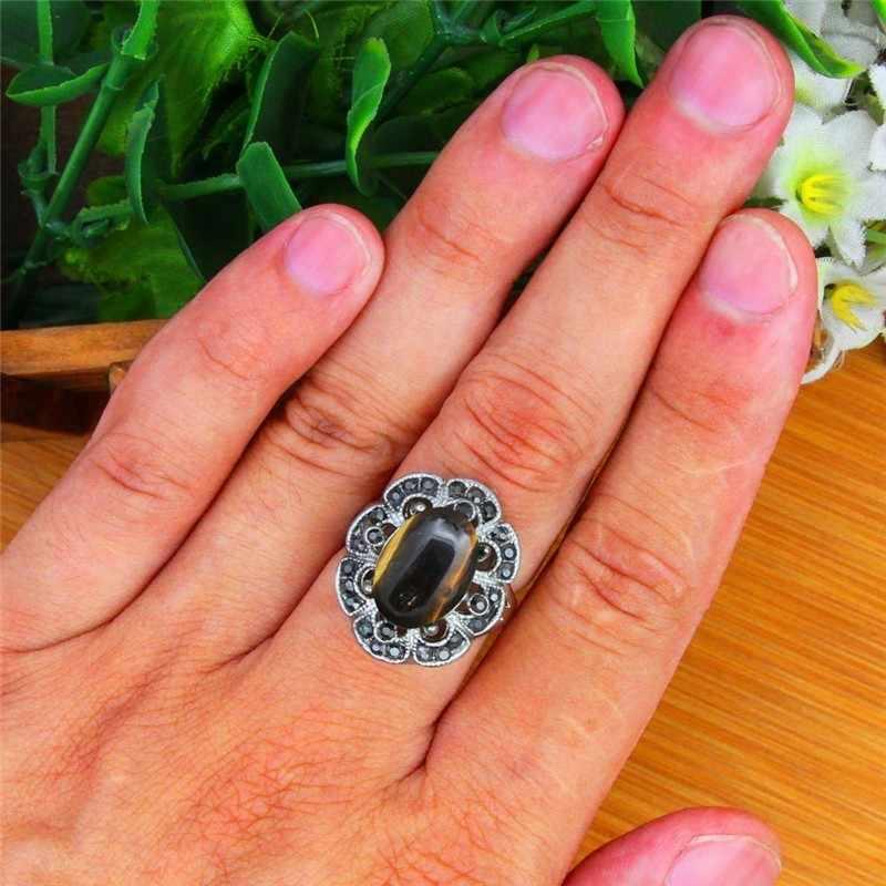 ธรรมชาติ Tiger Eye แหวนผู้หญิงวินเทจโบราณเงินชุบ Rhinestone พลัมดอกไม้แฟชั่นเครื่องประดับ TR692