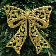 Christmas-Tree-Ornaments X-Mas-Tree Window-Glasses Gold-Powder Bow for 1-Pc Transparent