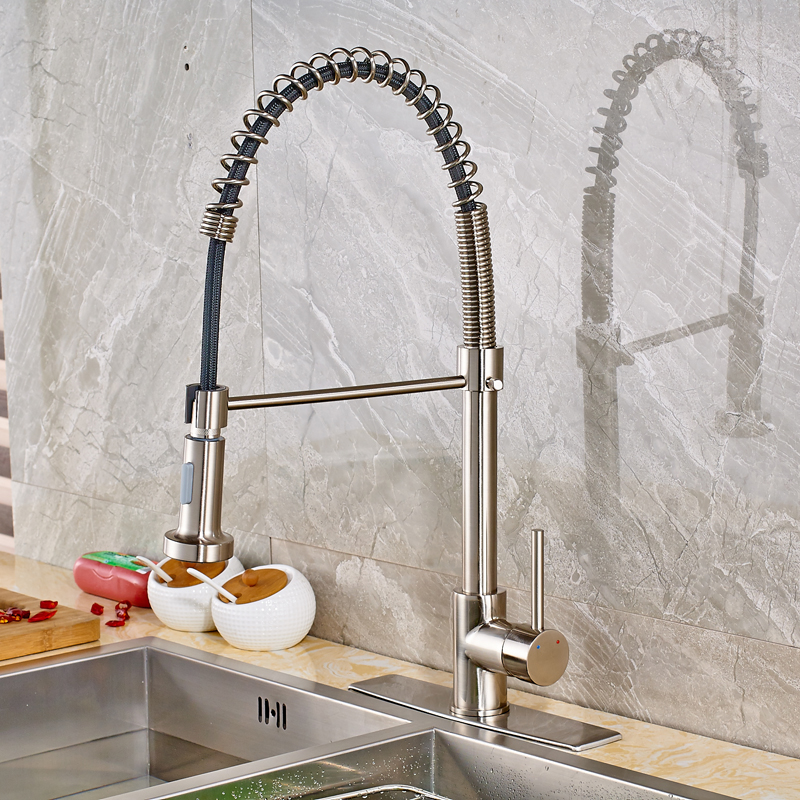 Contemporary Kitchen Sink Faucet Single Handle Pull Out Swivel Spout Mixer Tap with Cover Plate