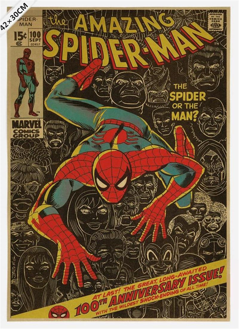 Vintage Classic Comics Famous Superhero Spiderman Poster Bar Cafe ...