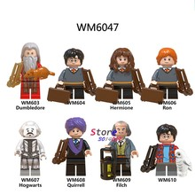 Single Building Blocks Harry Potter Figures Dumbledore Hogwarts Quirrell Filch Hermione Oliver Wood Collection toys for children(China)