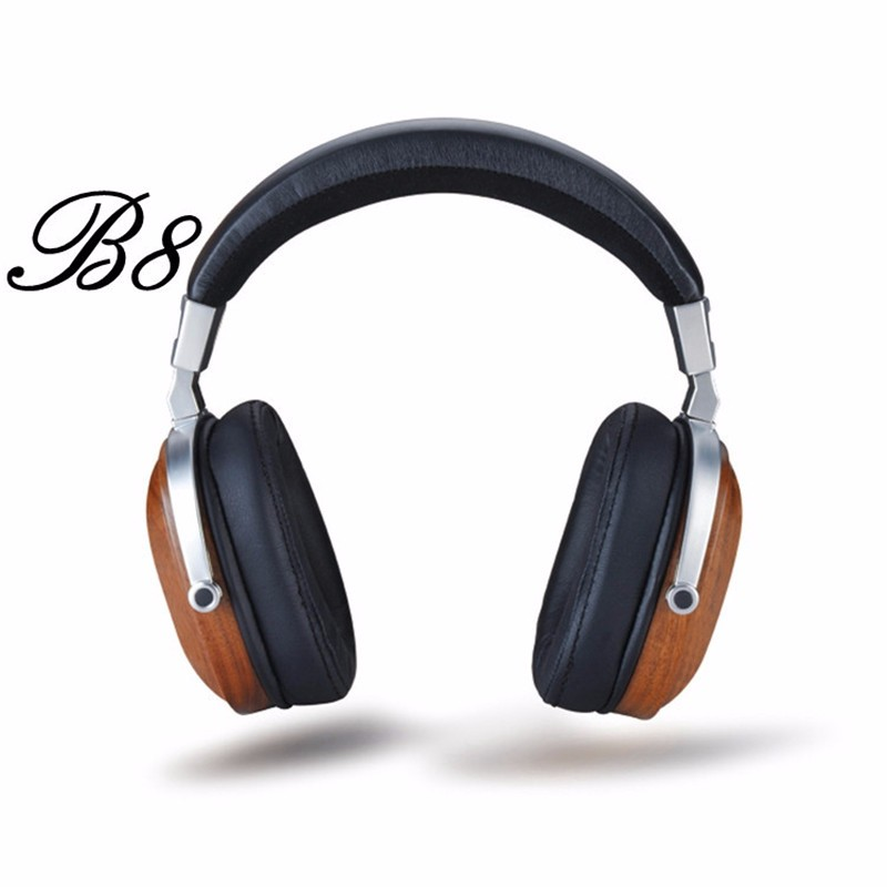 Original BossHifi B8 HiFi Wooden Metal Headphone Black Mahogany Headset Earphone With Beryllium Alloy Driver And protein Leather (2)
