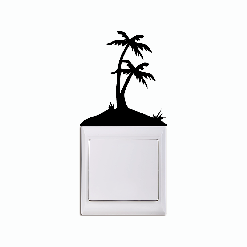 KG-281 Tropical Island Light Switch Sticker - Palm Tree Vinyl Wall Sticker  - Teen Room Home Wallpaper