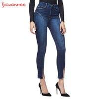 New Side Stripe Stretch Jeans Women High Wais unique design Jeans Elasticity Skinny pencil Women Jeans #124