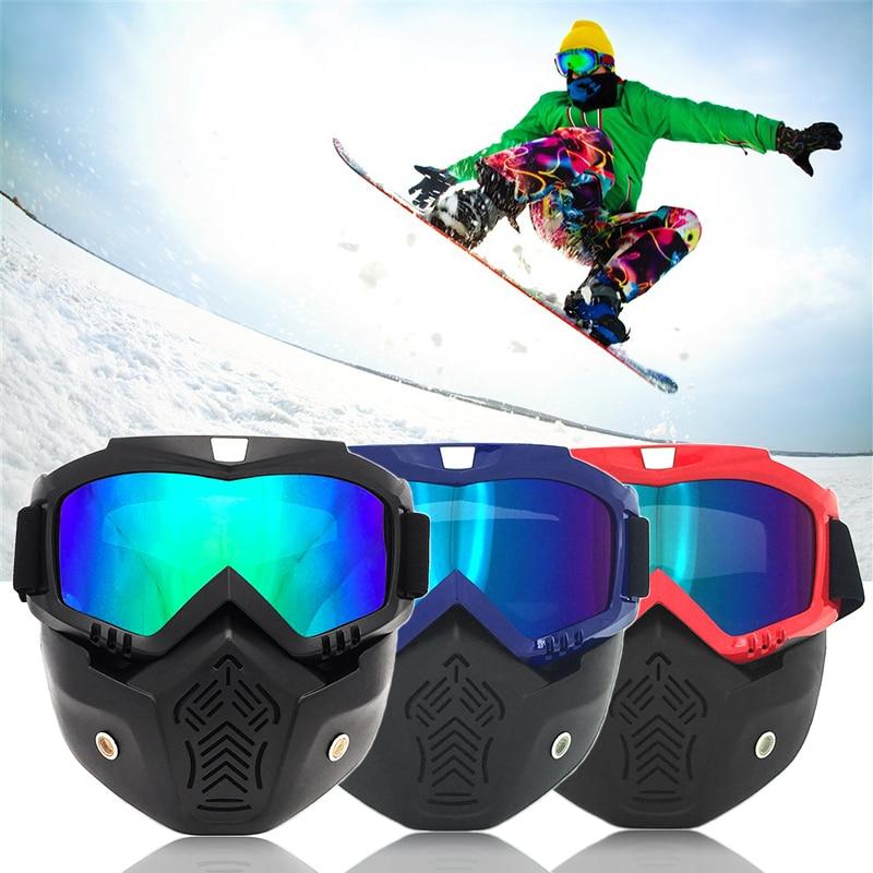 Бренд модульная маска Съемный очки рот фильтр лыжный Стекло Для мужчин Для женщин ветрозащитный снег сноуборд Очки для лыжного спорта Бесп...