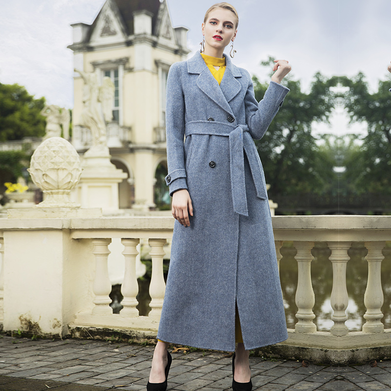 D'hiver Mujer Manteaux Manteau Laine Lady Long Abrigos Office Invierno 6921 Femmes Britannique Gris Turn Col down Style Overwear 5BZwUxq1Wd