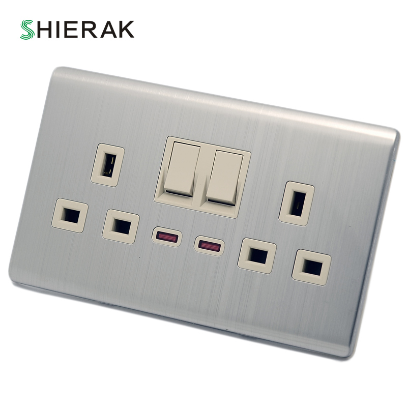SHIERAK 13A UK Standard Wall Double Socket With 2 Gang LED Light Switch Luxury Silver Panel Electrical Outlet AC 110~250V uk socket wallpad crystal glass panel 110v 250v switched 13a uk british standard electrical wall socket power outlet uk with led