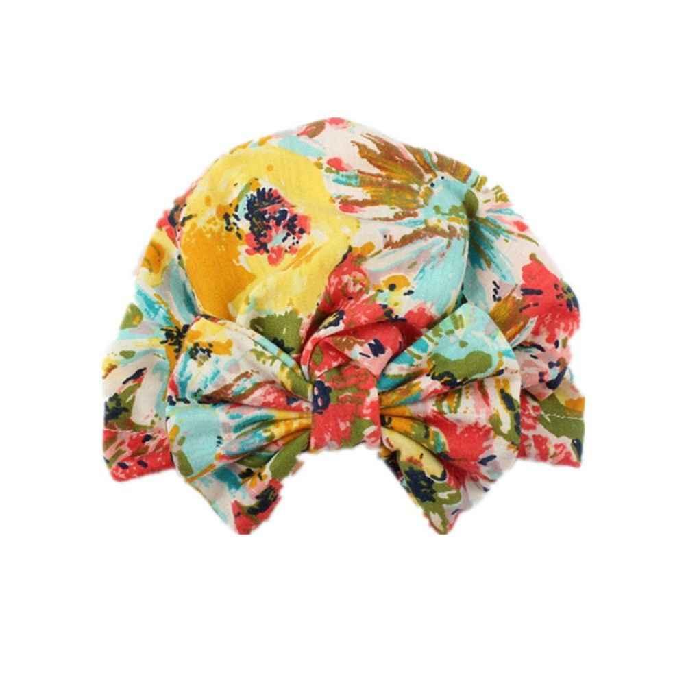 2018 Marca New Bebê Recém-nascido Infantil Da Menina Da Criança Confortável Bowknot Cap Beanie Hat Bowknot Floral Elastic Caps Beanie 0 Hospital -3 t