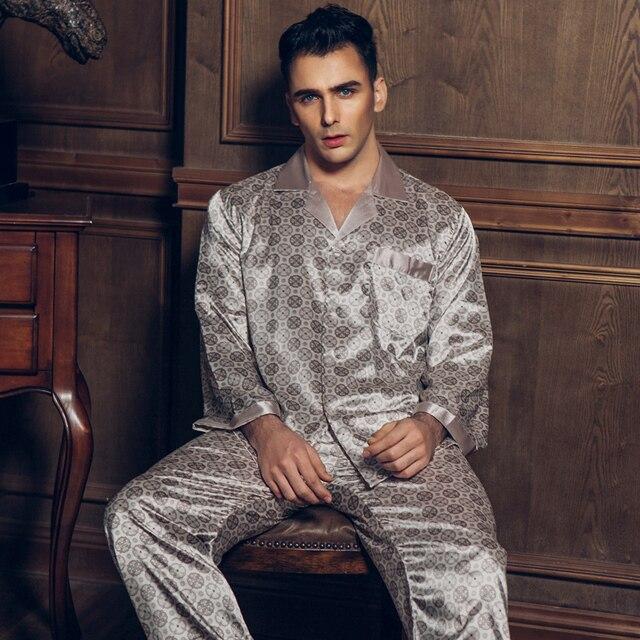2017 spring and autumn European and American pajamas men's silk long sleeves spring spring ice silk thin pajamas