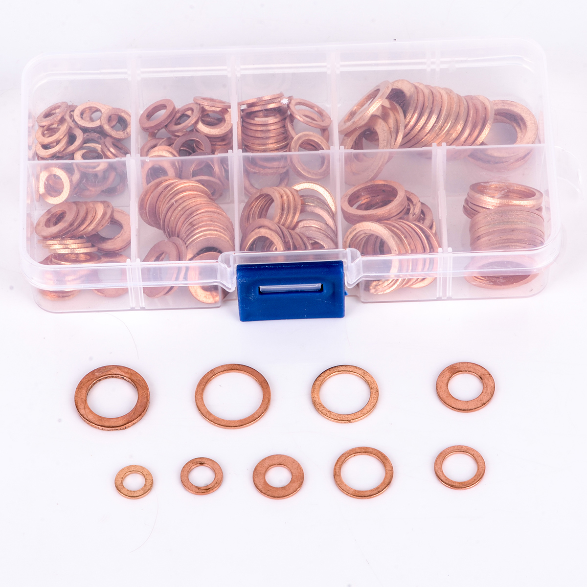 200pcs Assorted Copper Washer Gasket Set Flat Ring Seal Kit Ser M5/M6/M8/M10/M12/M14 with Plastic Box m6 m6 12 0 8 m6x12x0 8 m6 12 1 m6x12x1 din7603 insulation gasket shim crush ring seal red steel paper washer