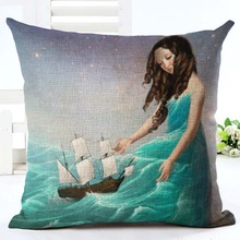 Fashion Digital Printing Cushion Cover Beauty Pattern Home Decorative Pillowcase Cotton Linen Square Cojines