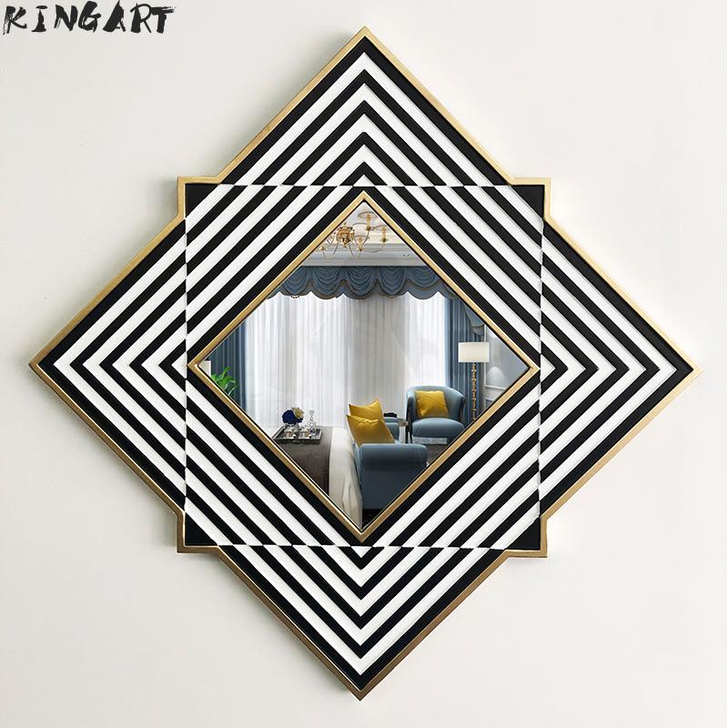 Grand miroir Mural avec cadre en bois miroir Mural carré salon décor Mural suspendu grand miroir Mural pour décoration de salle de bain