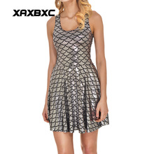 NEW 1010 Sexy Girl Women Summer mermaid Shiny dragon Fish scale silver 3D Prints Reversible Sleeveless Skater Pleated Dress
