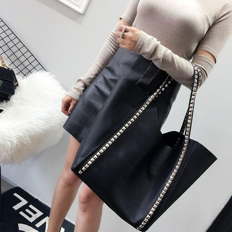 Coréenne Black Pi Shopping Capacité La Version Femmes Sac Casual Grande Enfant Nouveau Simple Pu D'épaule De Liuding wCqzT4aSq