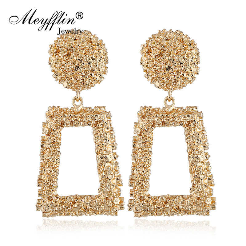 Meyfflin Big Geometric Drop Earrings for Women Punk Alloy Statement Earring Female Fashion Gold Color Brincos Jewelry New Brand