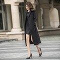Mulher Trench Coat 2016 Moda Coreano Turn-down Colarinho Fino Preto Magro Blusão Casuais Longo Outwear Plus Size Feminino trincheira