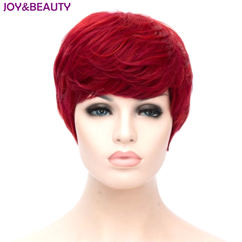 JOY&BEAUTY Heat Resistant Synthetic Hair Short Curly Wig Red Color Women Wigs 20cm