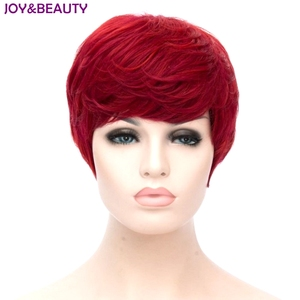Image 1 - JOY&BEAUTY Heat Resistant Synthetic Hair Short Curly Wig Red Color Women Wigs 20cm