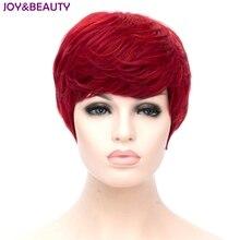 JOY & BEAUTY peluca rizada corta para mujer, cabello sintético resistente al calor, Color rojo, 20cm