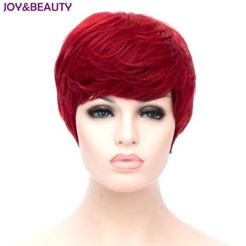 Radość i uroda żaroodporne włosy syntetyczne krótkie kręcone peruki czerwony kolor peruki damskie 20cm tanie i dobre opinie Tylko 1 sztuka Brak lace peruki SHORT JOY BEAUTY średni rozmiar Włókno odporne na wysoką temperaturę