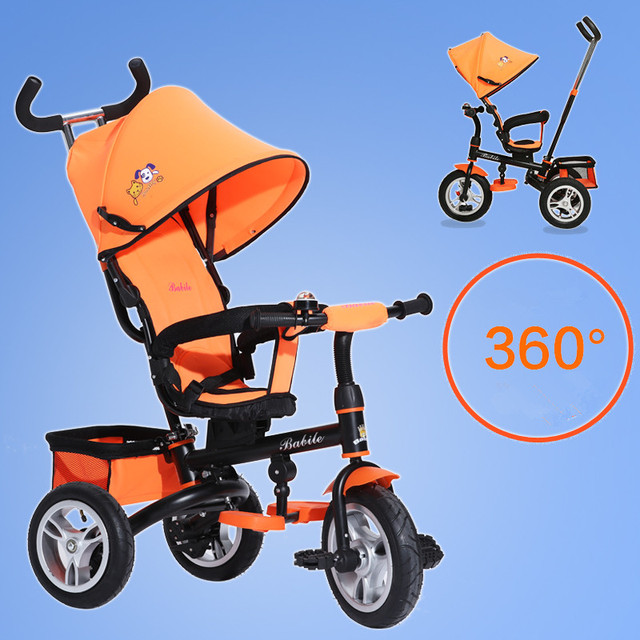 Children's hand push tricycle portable folding 1-6 years old baby pedal tricycle