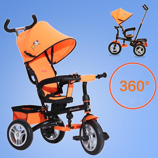 Impulso da mão das crianças triciclo dobrável portátil 1-6 anos de idade do bebê triciclo pedal