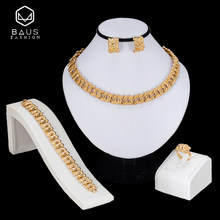 BAUS Dubai Gold Color Jewelry Sets ethiopian jewelry fashion african jewelry sets for women earrings necklace set costume Design(China)