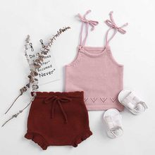 New Baby Girls Boys Clothing Sets Soft Newborn Baby Clothing Set Cotton Knitted Bowknot Design Suspender Shirt + Shorts Suit(China)