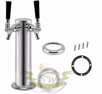 Chrome Double Stainless Steel Tower Beer Tap Duel Faucet Draft Keg Kegerator