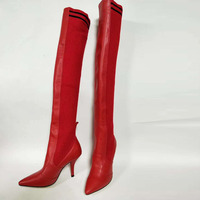 2018 Hot Autumn Winter Shoes Woman Leather Thigh High Boots Pointy Toe High Heels Design Runway Woman Over the knee Boots T