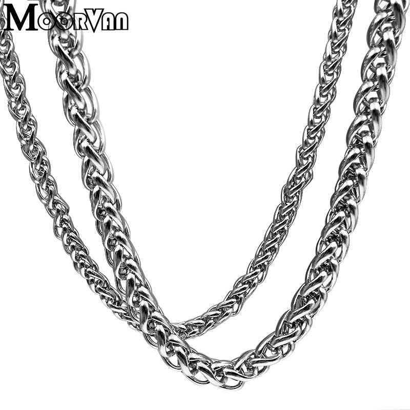 Moorvan 男性ネックレスステンレス鋼ボーイズジュエリー 40 センチメートル-90 センチメートル編組リンク小麦チェーンネックレス女性パンク · ロックバイカーギフト、 VN347