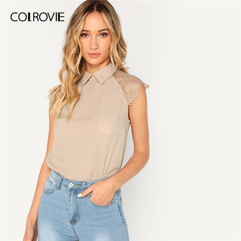 COLROVIE Khaki Solid Floral Lace Cap Sleeve Elegant   Blouse     Shirt   Women   Shirts   2019 Summer Korean Fashion Vintage Ladies Top