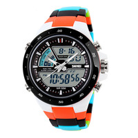 Cool Dual Display Wristwatches Men Colorful Silicone Band Strap Army Waterproof Sport Watches Date Clock Wristwatch