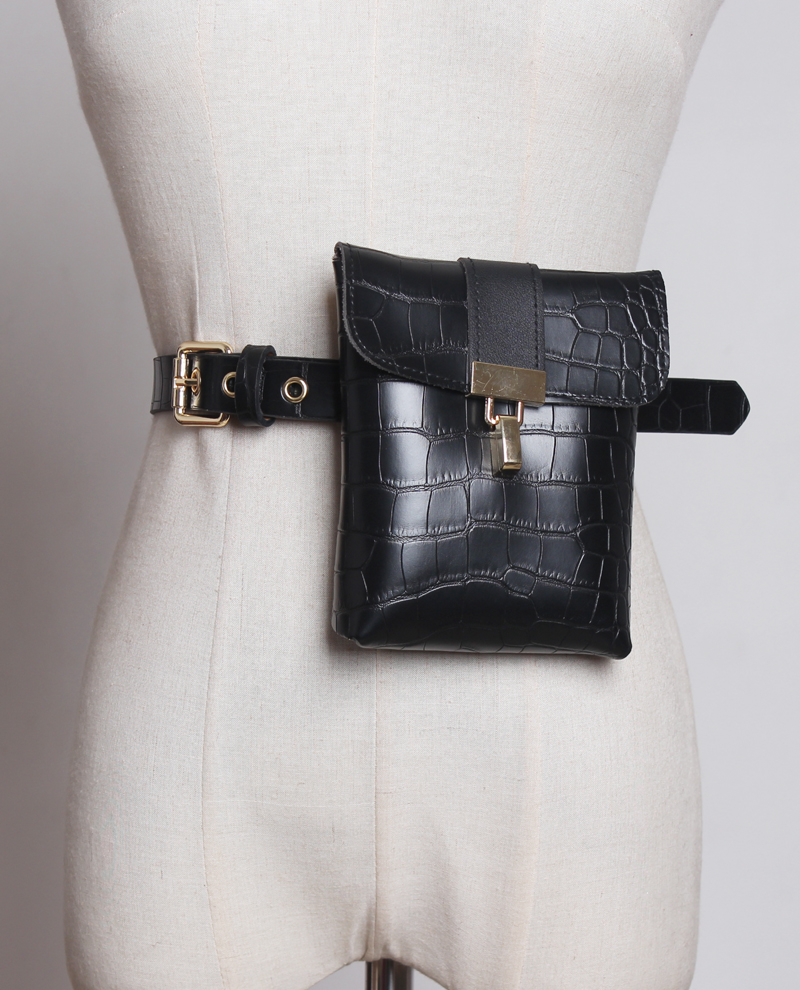 2019 Alligator PU Leather Waist Belt Bag Women Casual Street Red Black Bucket Bag Female Phone Purse Lock Buckle Fanny Pack Bag