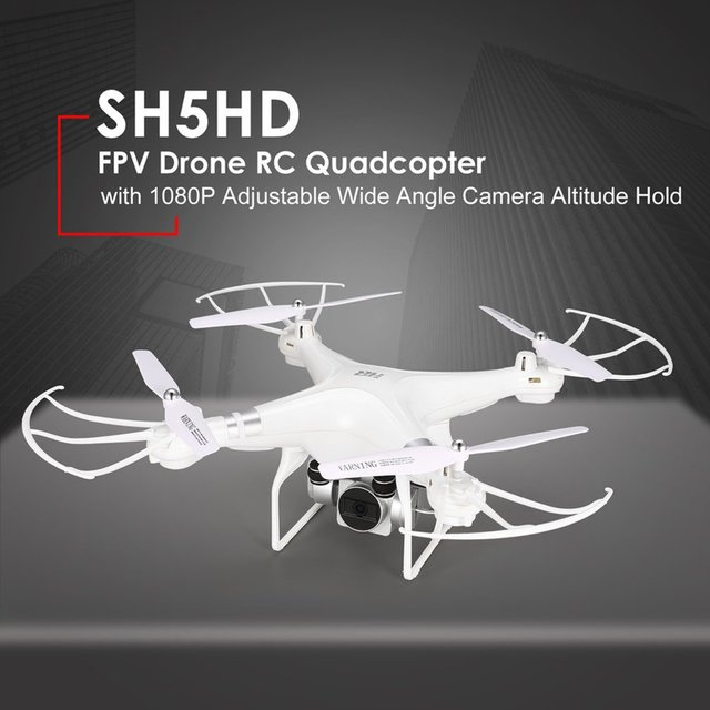 SH5HD FPV RC Drone RC Quadcopter with 1080P Adjustable Wide Angle Wifi HD Camera Live Video Altitude Hold 3 Batteries