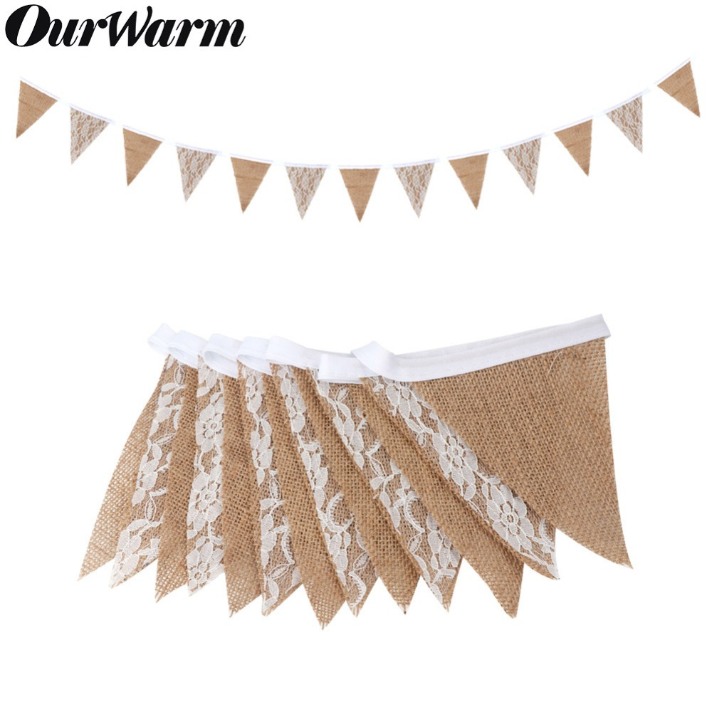 OurWarm 3 м Свадебные баннеры, вечерние реквизиты для фотосъемки, декорация, 12*16*16 см, кружевной бандаж, 13 флагов
