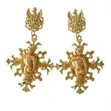 Серьги-капли с отверстиями для женщин, аксессуары для одежды, винтажные массивные серьги, шикарные золотые серьги с крестиком