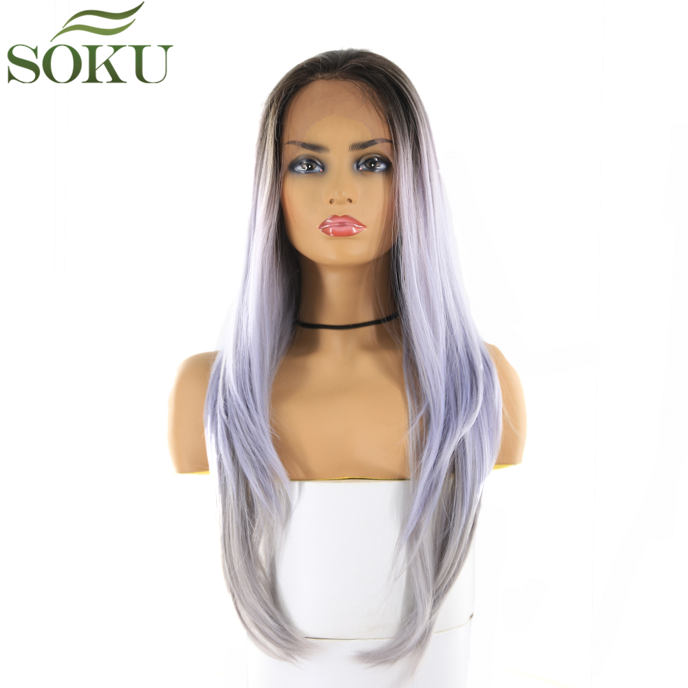 SOKU Synthetic 13*4 Lace Front Wigs Dark Root Purple Color Wigs 26 Inch Long Straight Free Part Lace Frontal Wig For Women