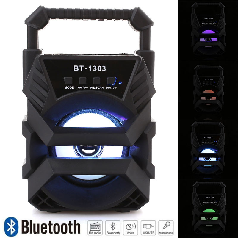 Portable Wireless Bluetooth Speaker Large Size Stereo FM Radio LED Light Waterproof Portable Outdoor Speaker Support TF Card