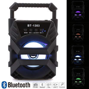 Bluetooth-Speaker Led-Light Fm-Radio Waterproof Large-Size Portable Wireless Tf-Card