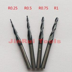 """Image 1 - 1pc R0.25/R0.5/R0.75/R1 1/8 """"(3.175mm) שוק HRC55 מחודד קרביד כדור האף סוף מילס כרסום קאטר עץ חריטת כלים סכין"""