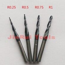 """1pc r0.25/r0.5/r0.75/r1 1/8 """"(3.175mm) 생크 hrc55 초경 테이퍼 볼 코 엔드 밀 밀링 커터 목재 조각 도구 나이프"""